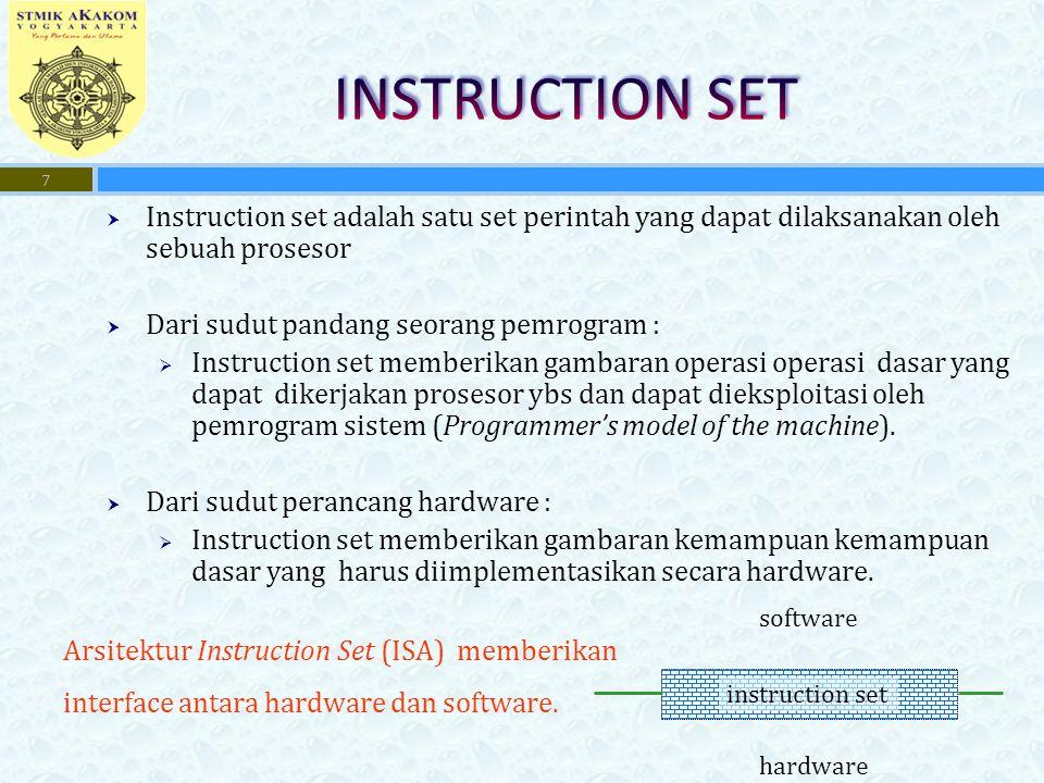 INSTRUCTION SET Instruction set adalah satu set perintah yang dapat dilaksanakan oleh sebuah prosesor.