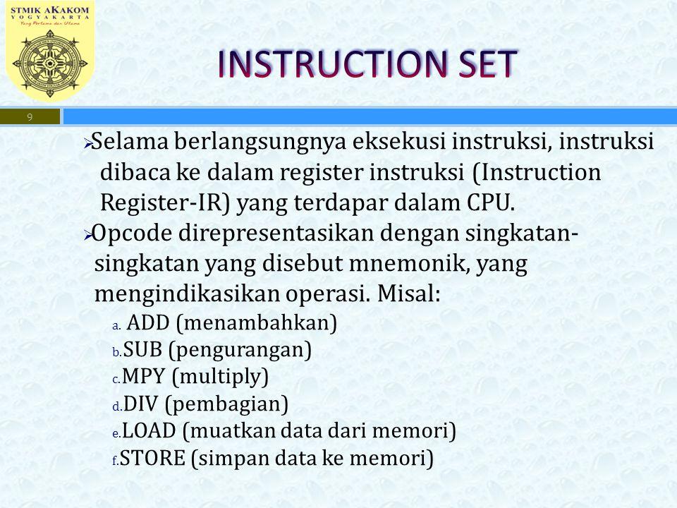 INSTRUCTION SET Selama berlangsungnya eksekusi instruksi, instruksi