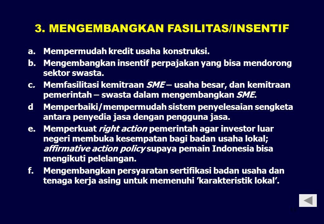 3. MENGEMBANGKAN FASILITAS/INSENTIF