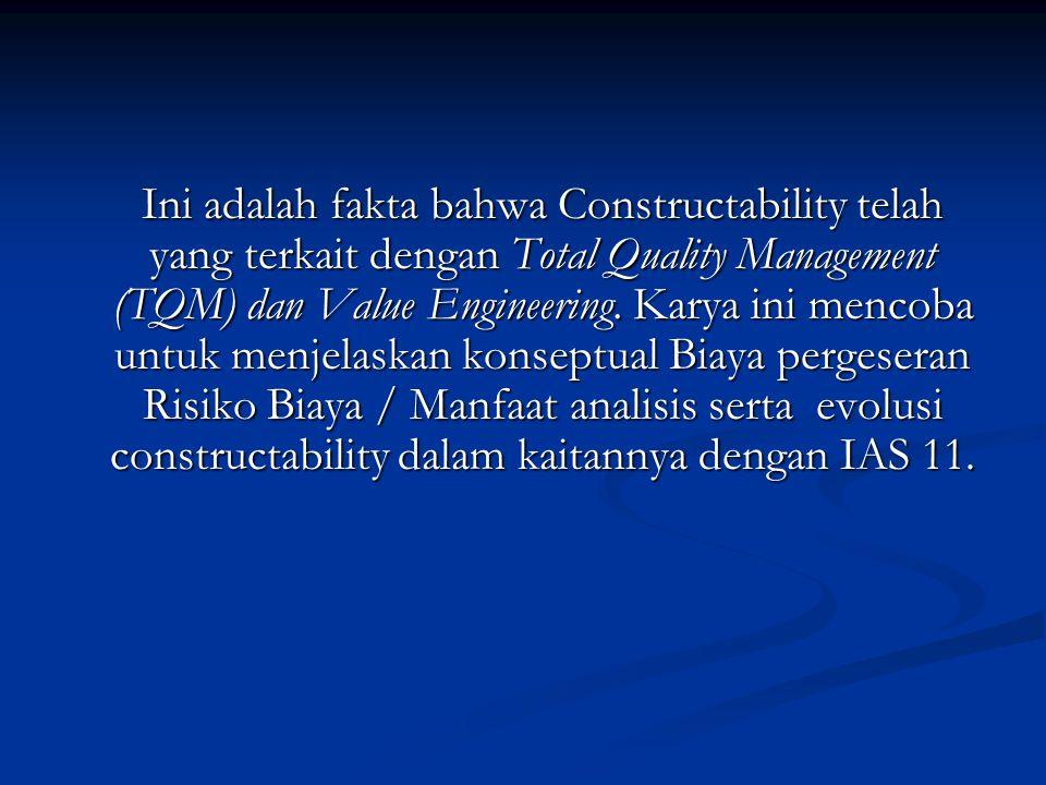 Ini adalah fakta bahwa Constructability telah yang terkait dengan Total Quality Management (TQM) dan Value Engineering.