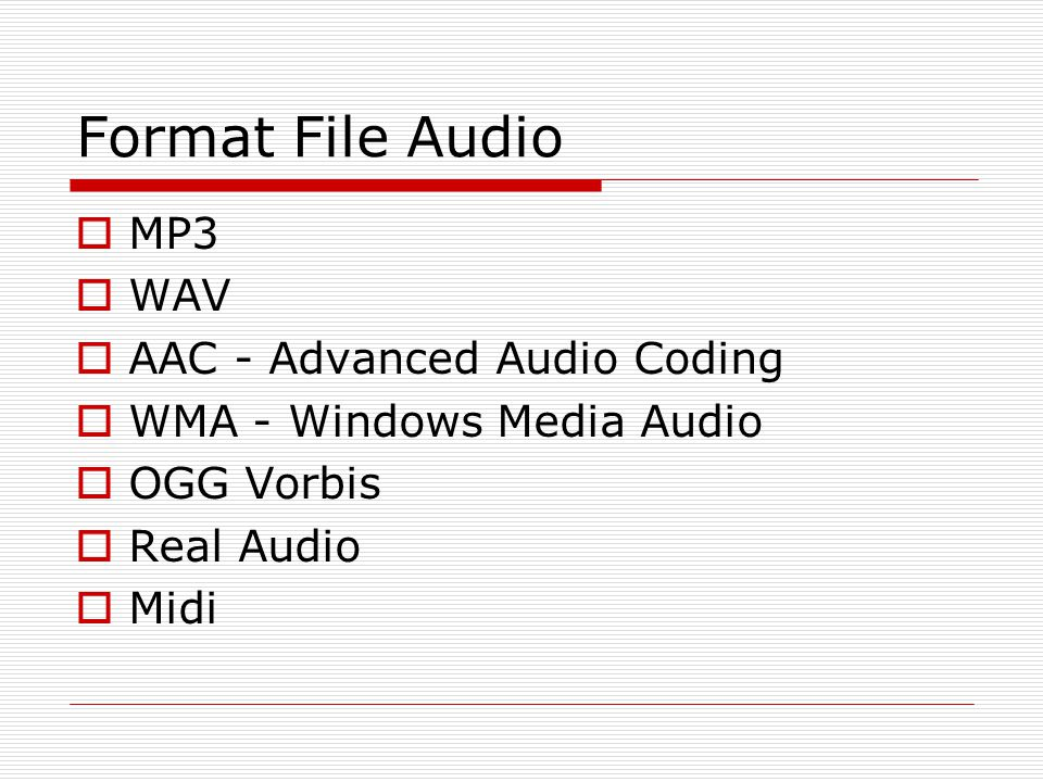 Format File Audio MP3 WAV AAC - Advanced Audio Coding