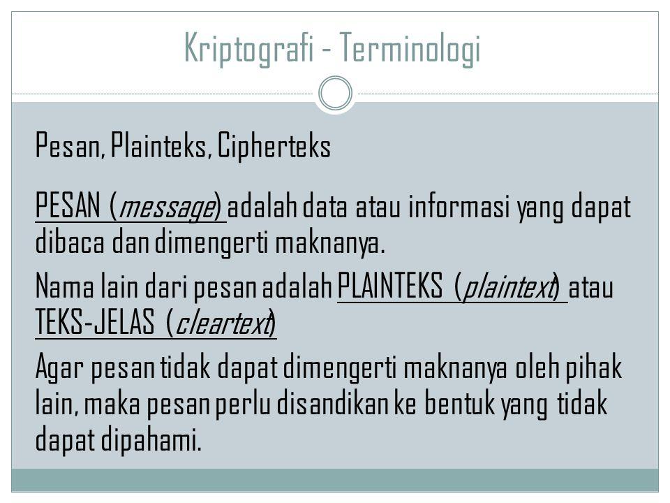 Kriptografi - Terminologi