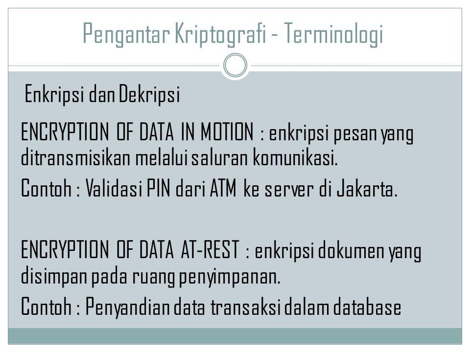 Pengantar Kriptografi - Terminologi