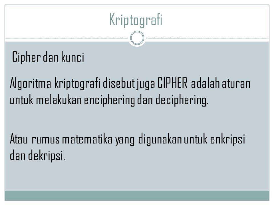 Kriptografi Cipher dan kunci