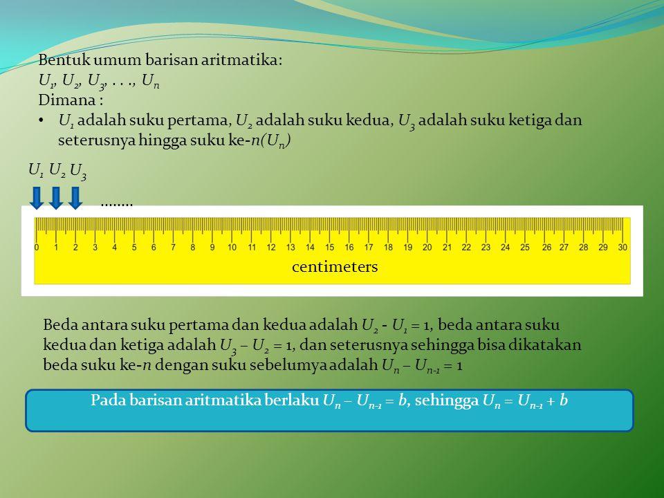 Pada barisan aritmatika berlaku Un – Un-1 = b, sehingga Un = Un-1 + b