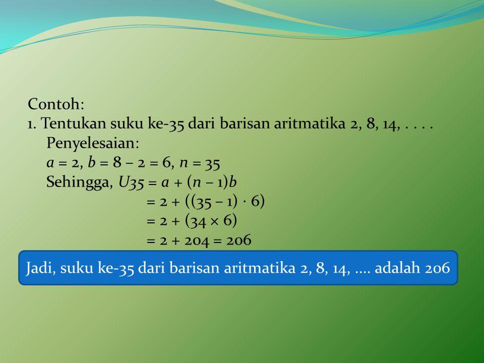 Jadi, suku ke-35 dari barisan aritmatika 2, 8, 14, .... adalah 206