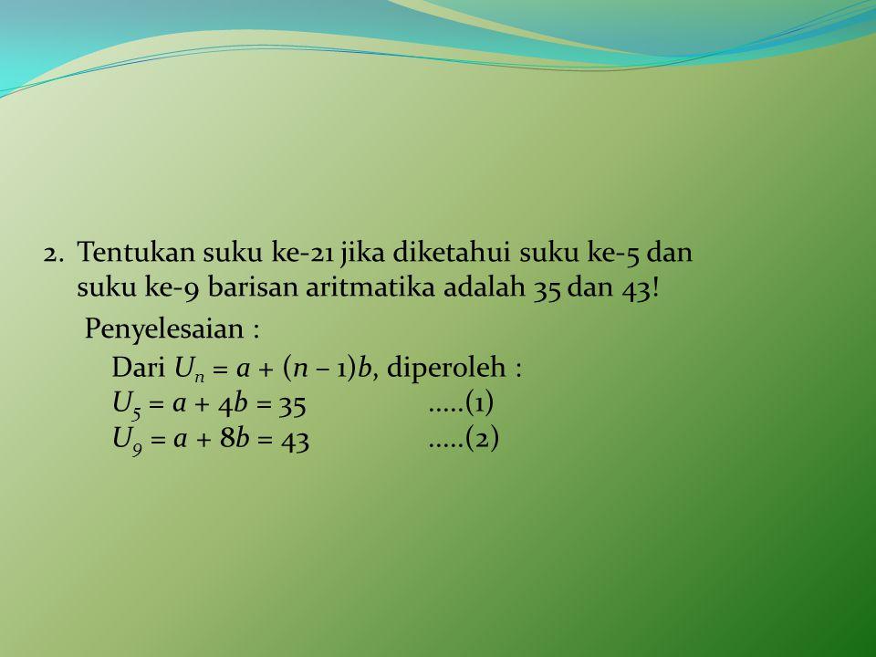 Tentukan suku ke-21 jika diketahui suku ke-5 dan suku ke-9 barisan aritmatika adalah 35 dan 43!