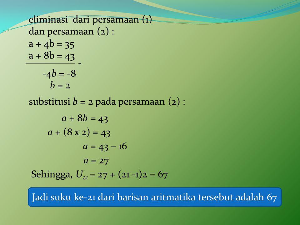 eliminasi dari persamaan (1) dan persamaan (2) : a + 4b = 35
