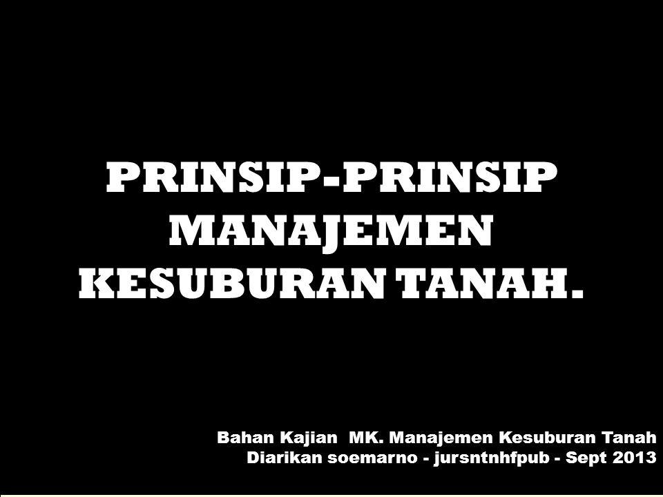 PRINSIP-PRINSIP MANAJEMEN KESUBURAN TANAH.