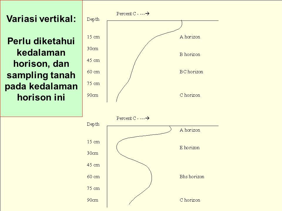 Variasi vertikal: Perlu diketahui kedalaman horison, dan sampling tanah pada kedalaman horison ini
