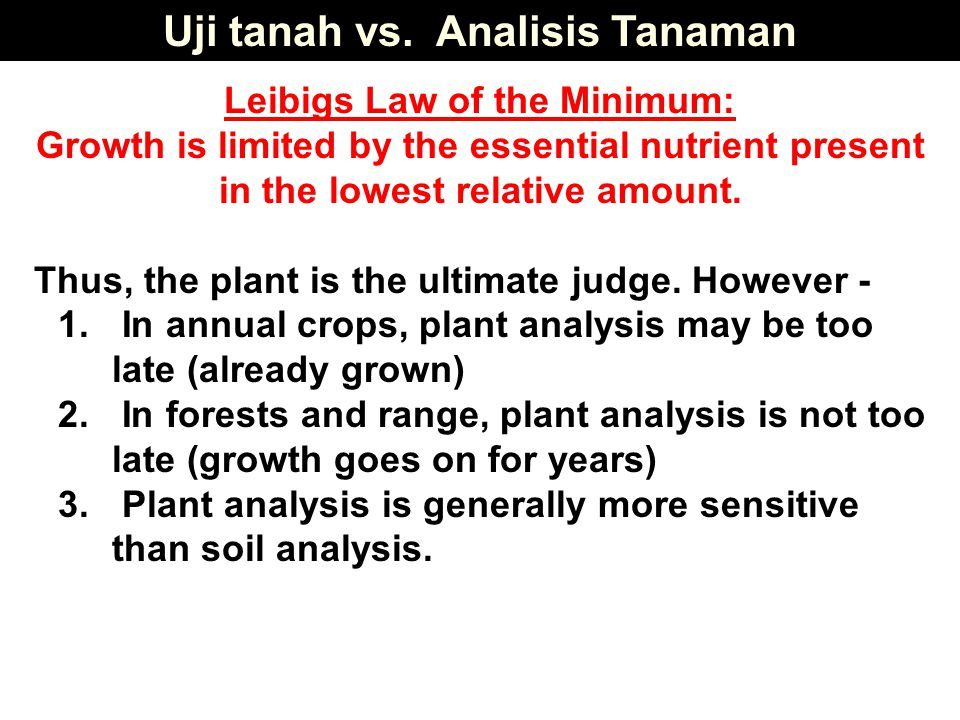 Uji tanah vs. Analisis Tanaman Leibigs Law of the Minimum: