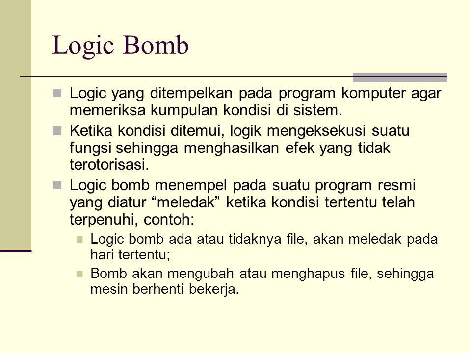 Logic Bomb Logic yang ditempelkan pada program komputer agar memeriksa kumpulan kondisi di sistem.