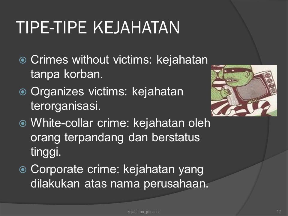 TIPE-TIPE KEJAHATAN Crimes without victims: kejahatan tanpa korban.