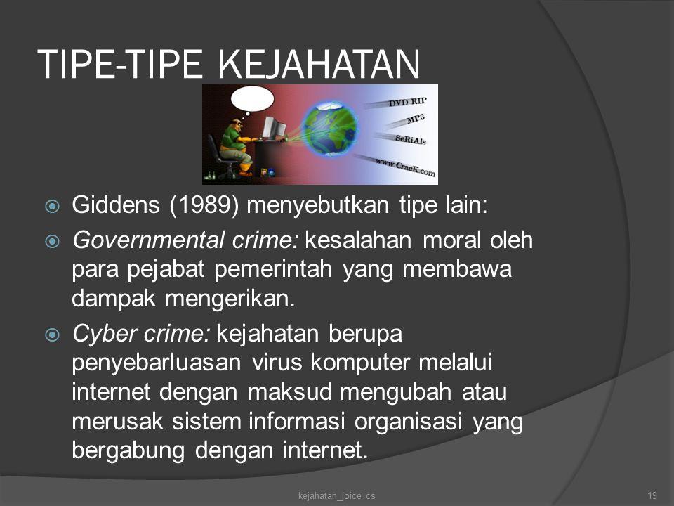 TIPE-TIPE KEJAHATAN Giddens (1989) menyebutkan tipe lain: