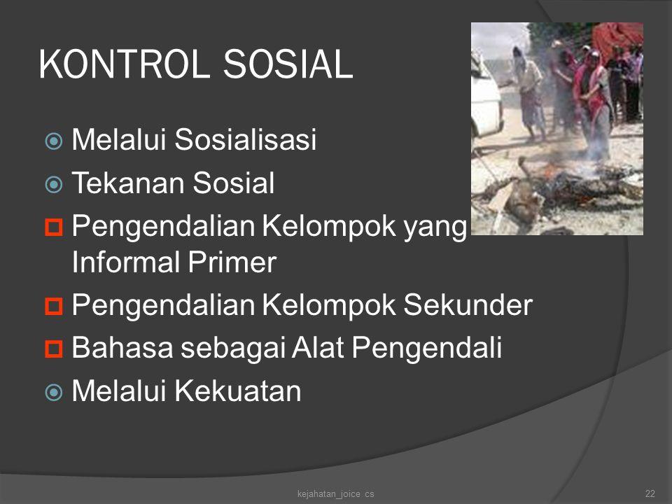 KONTROL SOSIAL Melalui Sosialisasi Tekanan Sosial