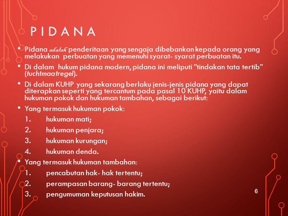P i d a n a Pidana adalah penderitaan yang sengaja dibebankan kepada orang yang melakukan perbuatan yang memenuhi syarat- syarat perbuatan itu.