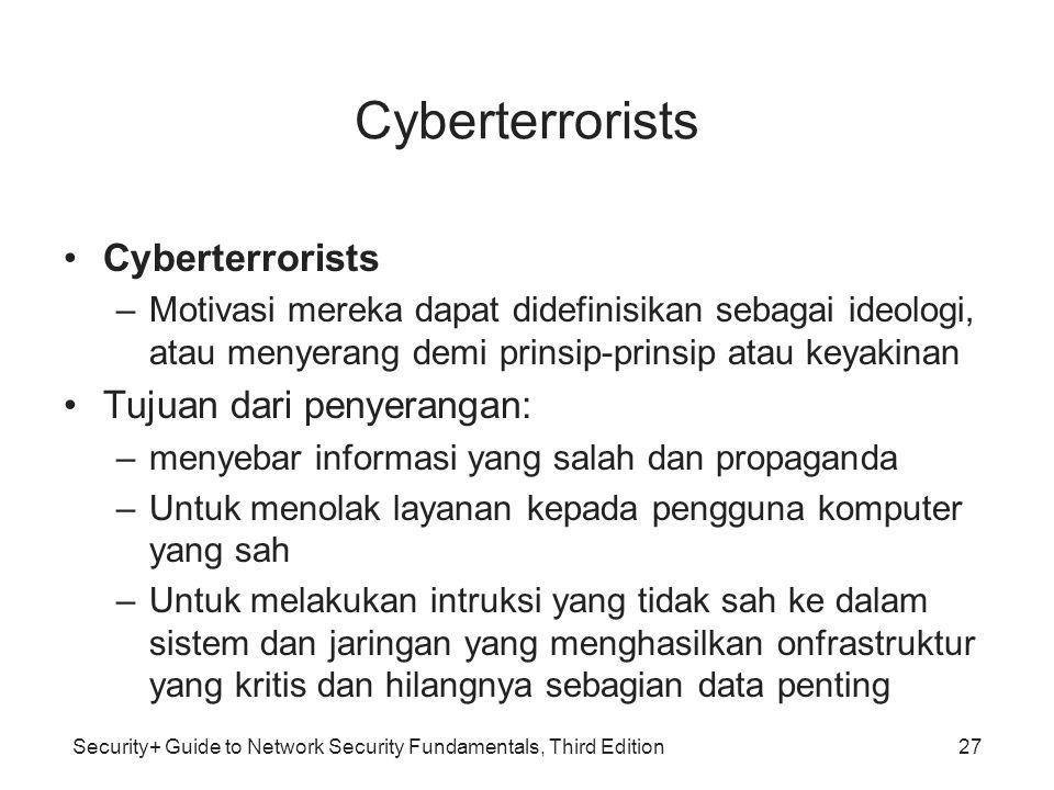 Cyberterrorists Cyberterrorists Tujuan dari penyerangan: