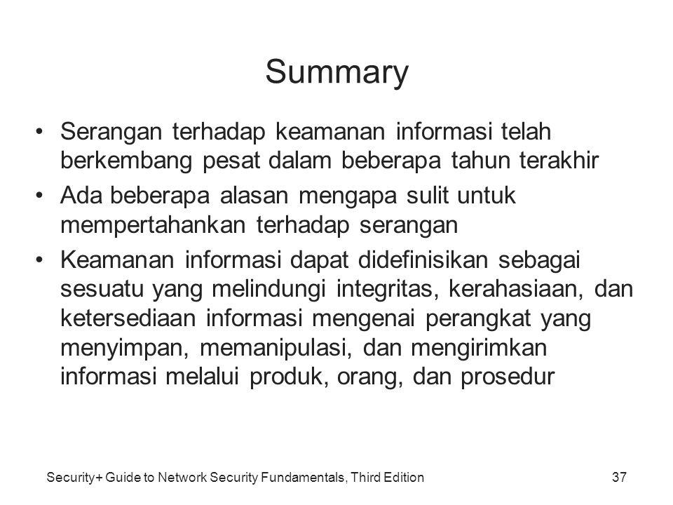 Summary Serangan terhadap keamanan informasi telah berkembang pesat dalam beberapa tahun terakhir.