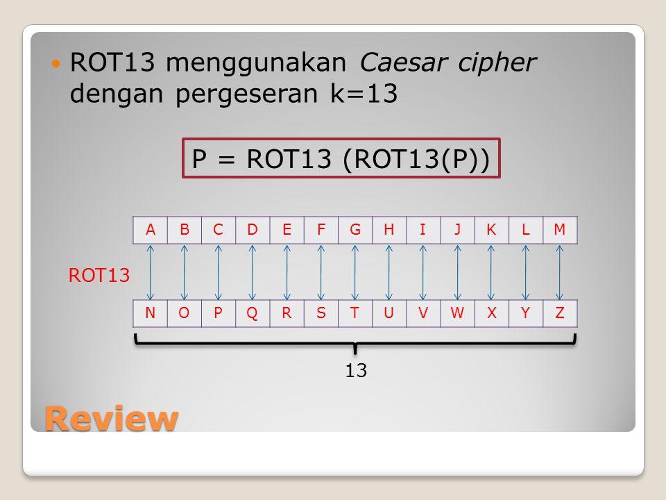 Review ROT13 menggunakan Caesar cipher dengan pergeseran k=13