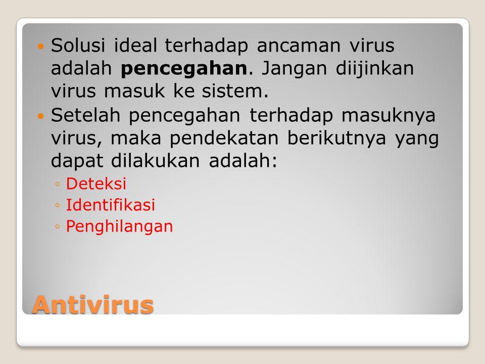 Solusi ideal terhadap ancaman virus adalah pencegahan