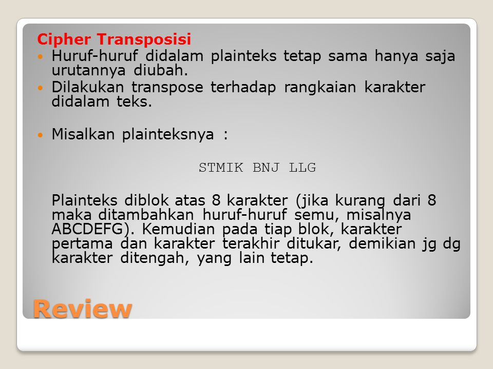 Review Cipher Transposisi