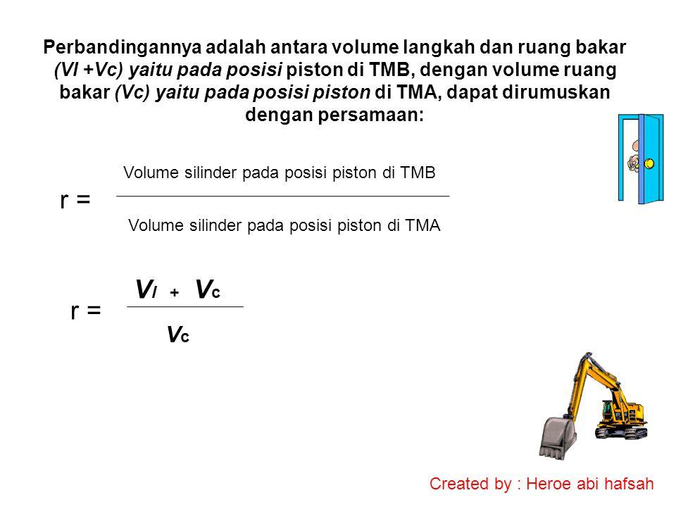 Perbandingannya adalah antara volume langkah dan ruang bakar (Vl +Vc) yaitu pada posisi piston di TMB, dengan volume ruang bakar (Vc) yaitu pada posisi piston di TMA, dapat dirumuskan dengan persamaan: