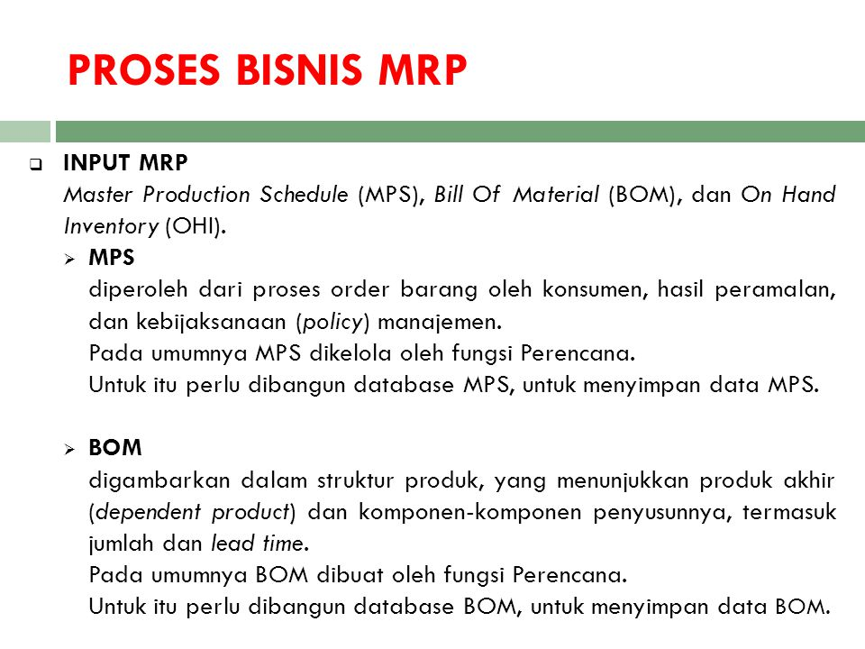 PROSES BISNIS MRP INPUT MRP