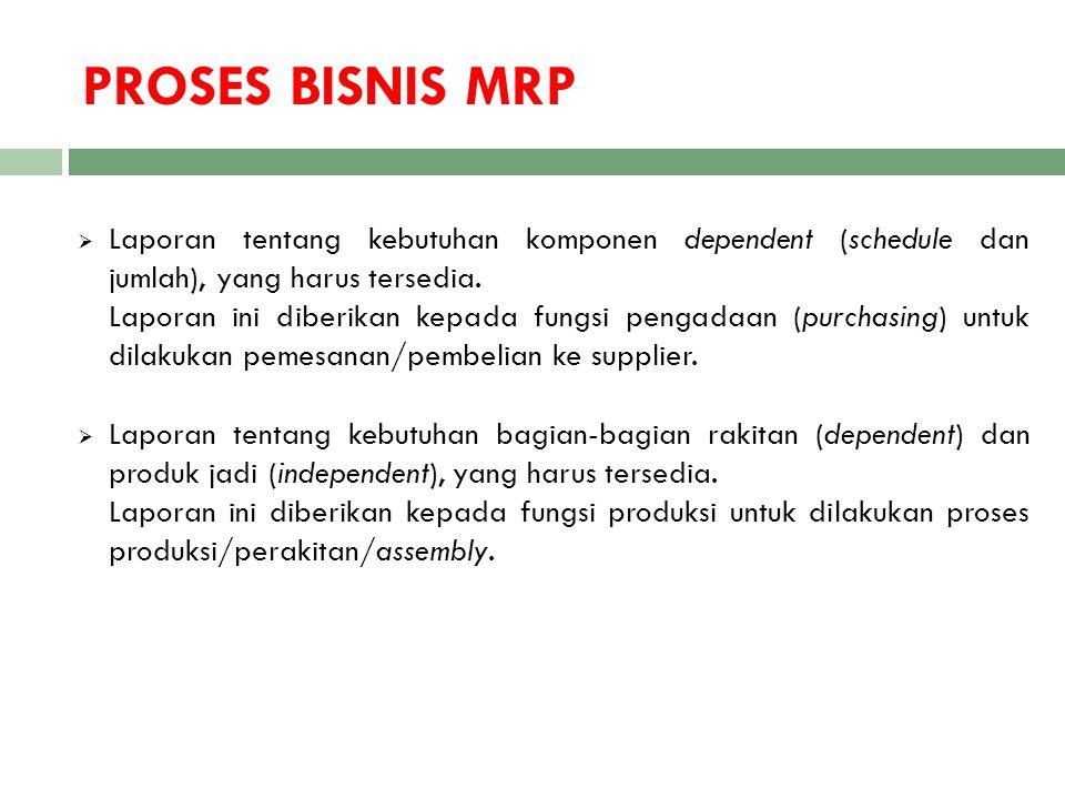 PROSES BISNIS MRP Laporan tentang kebutuhan komponen dependent (schedule dan jumlah), yang harus tersedia.