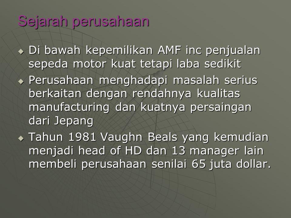 Sejarah perusahaan Di bawah kepemilikan AMF inc penjualan sepeda motor kuat tetapi laba sedikit.