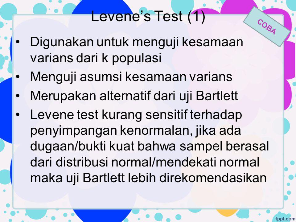 Levene's Test (1) COBA. Digunakan untuk menguji kesamaan varians dari k populasi. Menguji asumsi kesamaan varians.