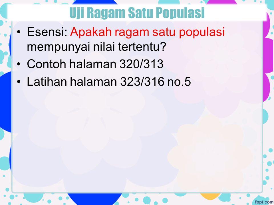Uji Ragam Satu Populasi
