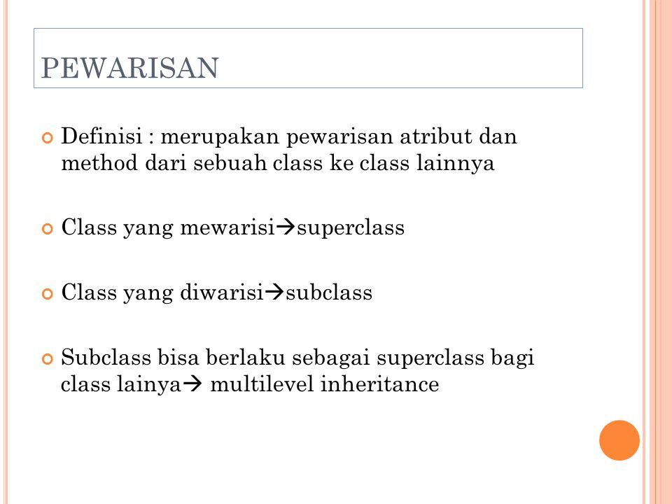 PEWARISAN Definisi : merupakan pewarisan atribut dan method dari sebuah class ke class lainnya. Class yang mewarisisuperclass.