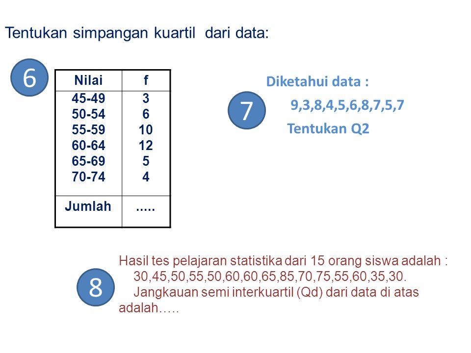 6 7 8 Tentukan simpangan kuartil dari data: Diketahui data :