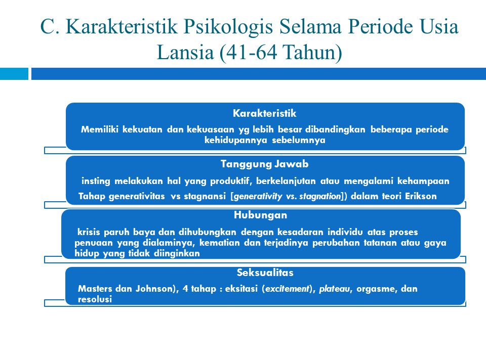 C. Karakteristik Psikologis Selama Periode Usia Lansia (41-64 Tahun)