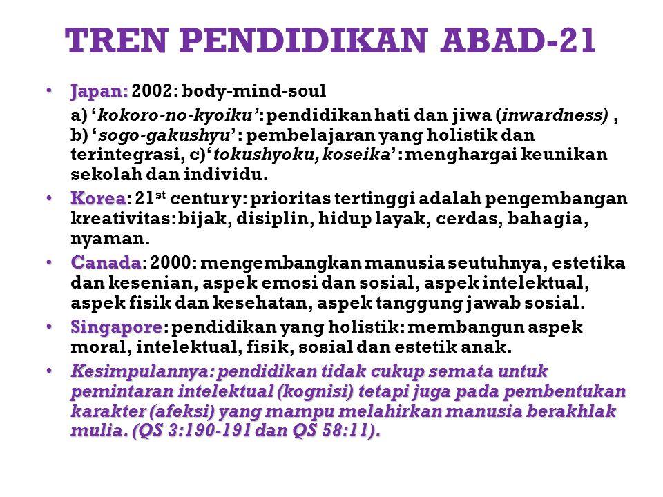TREN PENDIDIKAN ABAD-21 Japan: 2002: body-mind-soul