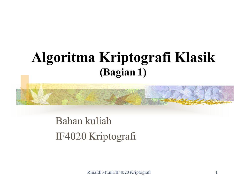 Algoritma Kriptografi Klasik (Bagian 1)