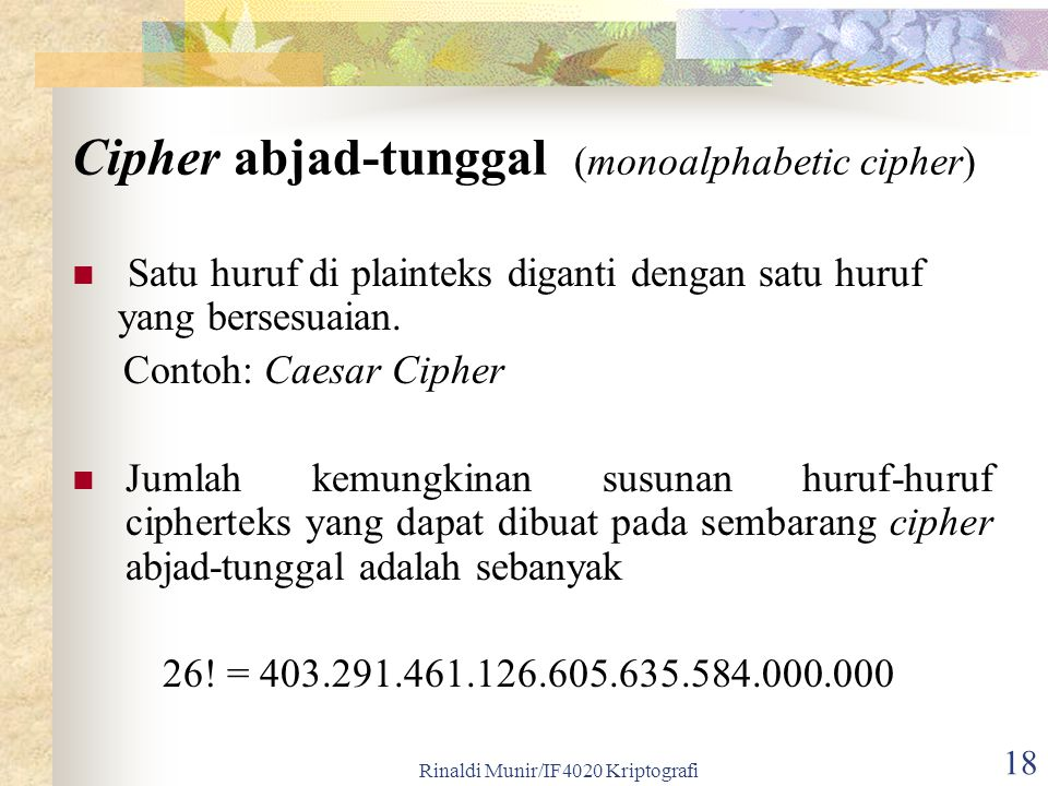 Cipher abjad-tunggal (monoalphabetic cipher)