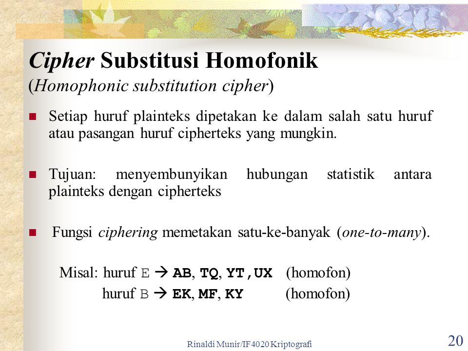 Cipher Substitusi Homofonik (Homophonic substitution cipher)