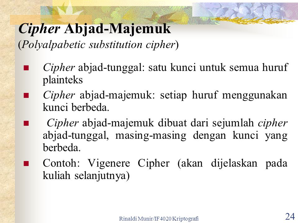 Cipher Abjad-Majemuk (Polyalpabetic substitution cipher)
