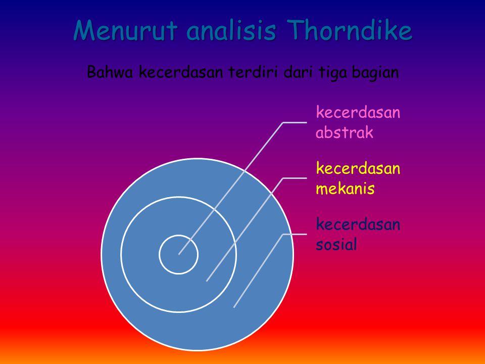 Menurut analisis Thorndike Bahwa kecerdasan terdiri dari tiga bagian