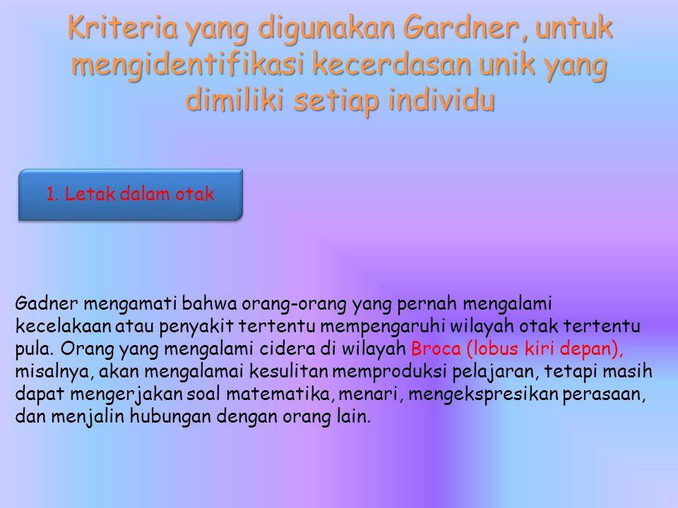 Kriteria yang digunakan Gardner, untuk mengidentifikasi kecerdasan unik yang dimiliki setiap individu