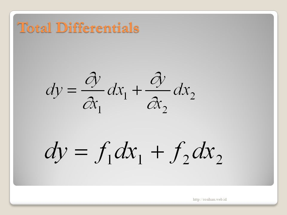 Total Differentials http://rosihan.web.id