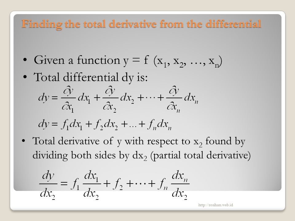 Finding the total derivative from the differential