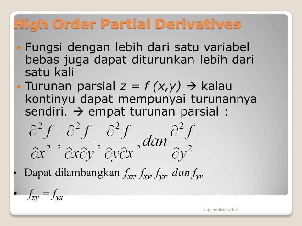 High Order Partial Derivatives