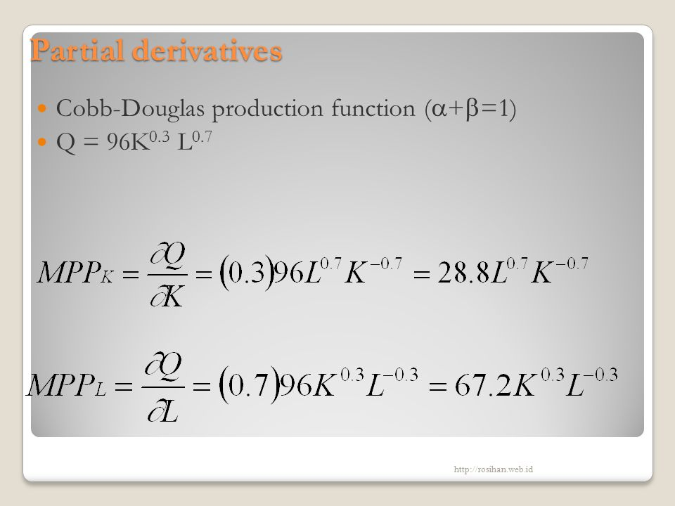 Partial derivatives Cobb-Douglas production function (+=1)