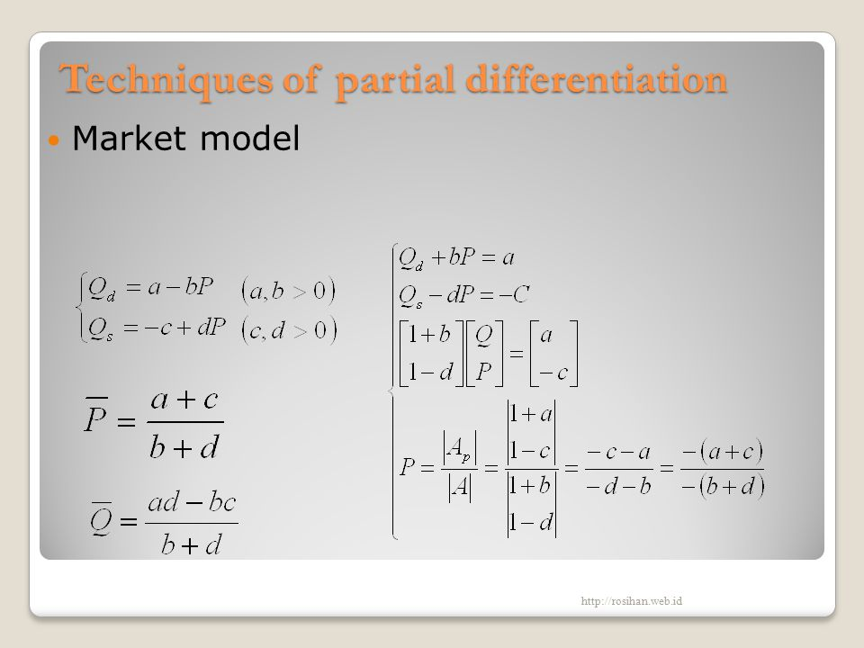 Techniques of partial differentiation