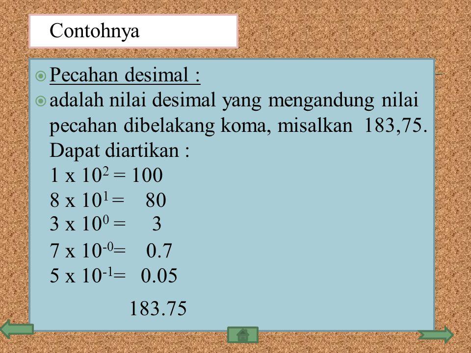 Contohnya Pecahan desimal : adalah nilai desimal yang mengandung nilai pecahan dibelakang koma, misalkan 183,75. Dapat diartikan :