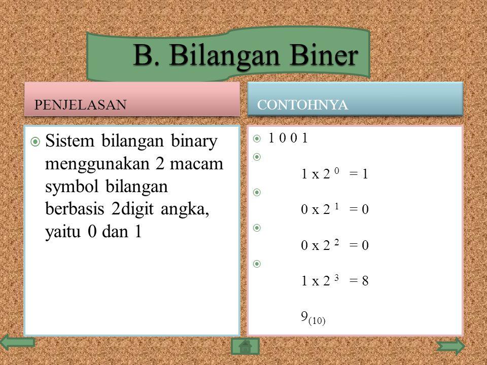 B. Bilangan Biner penjelasan. Contohnya. Sistem bilangan binary menggunakan 2 macam symbol bilangan berbasis 2digit angka, yaitu 0 dan 1.