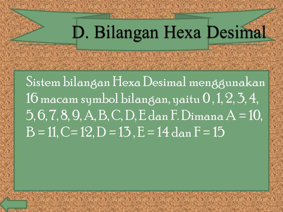 D. Bilangan Hexa Desimal