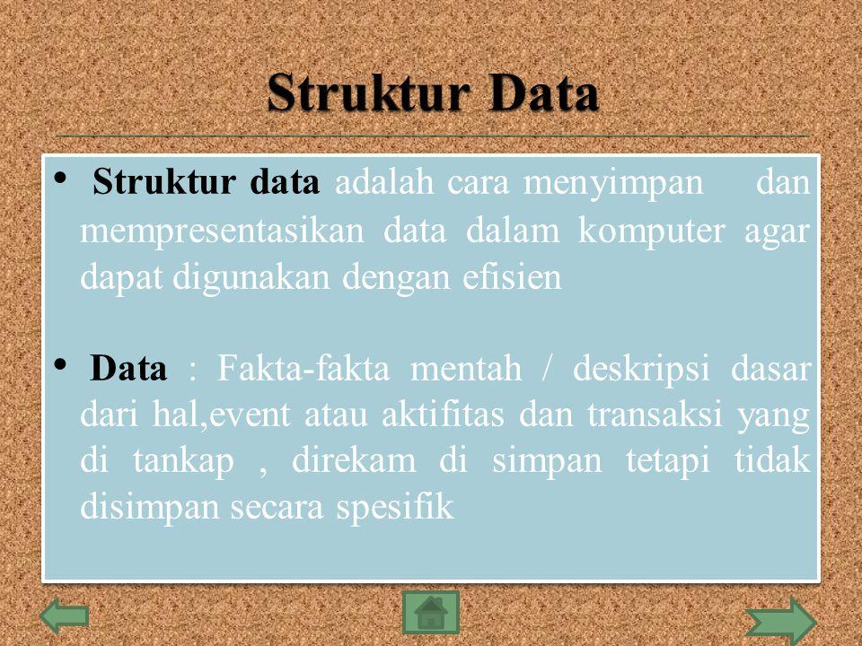 Struktur Data Struktur data adalah cara menyimpan dan mempresentasikan data dalam komputer agar dapat digunakan dengan efisien.